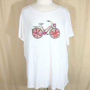 Crown & Ivy Beaded Bicycle Graphic T-shirt